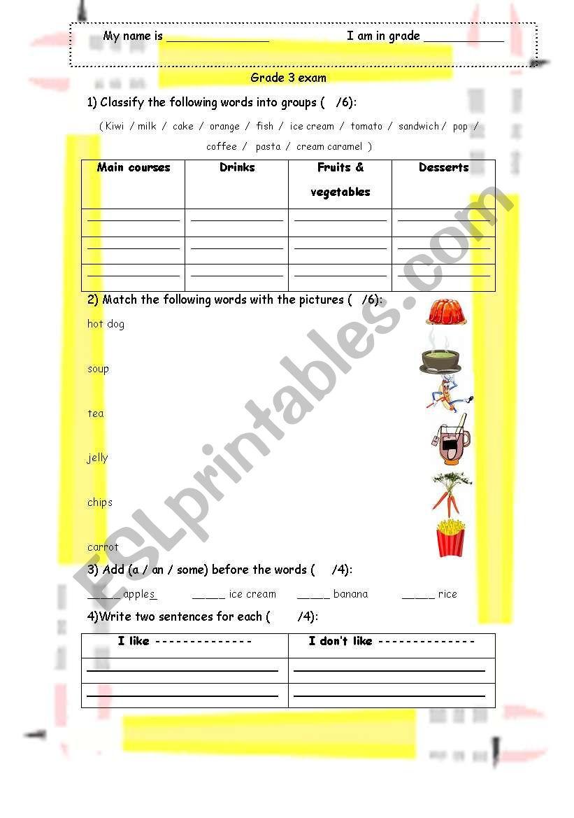 food worksheet