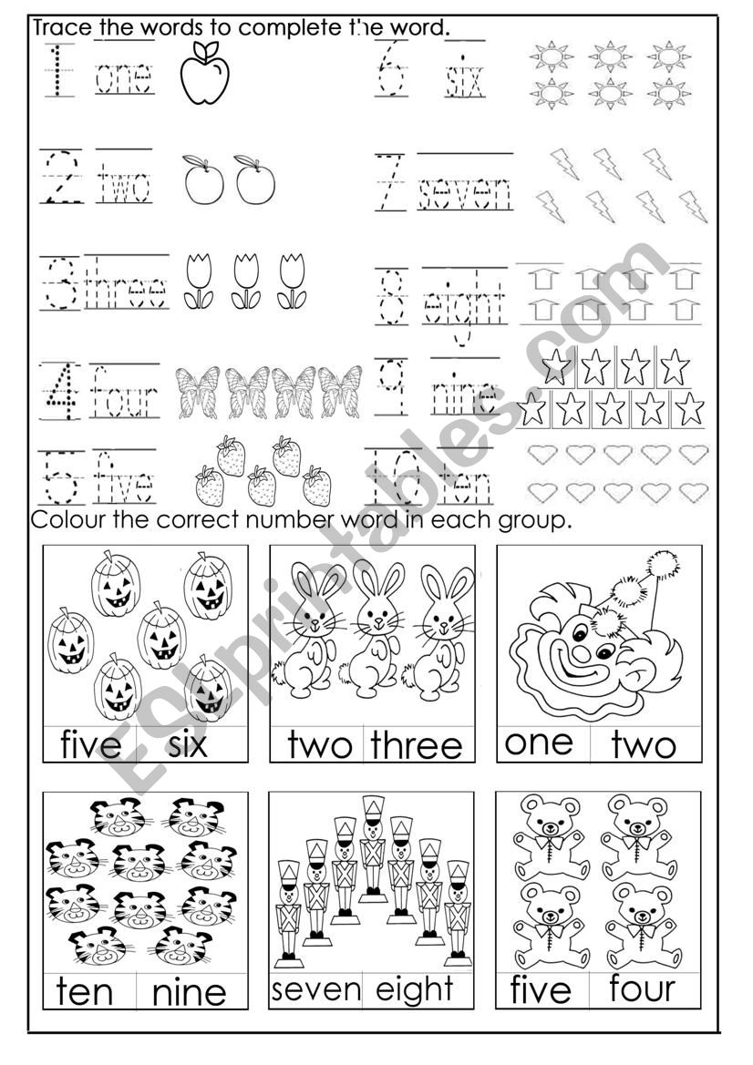 Numbers 1- 10 - ESL worksheet by jessamay27