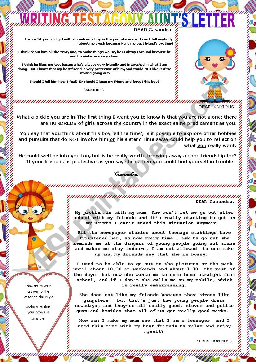 Agony Aunt Letter Template