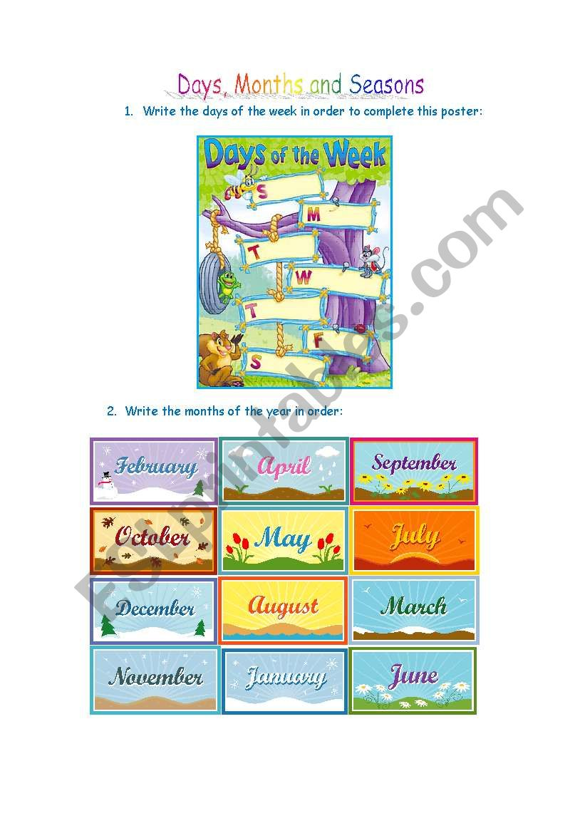 Days, Months and Seasons worksheet