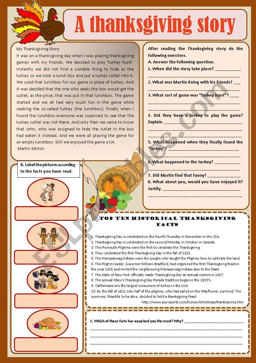 Text - A Thanksgiving story worksheet