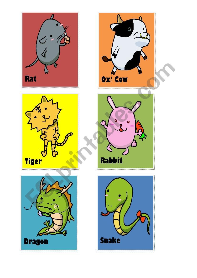 Chinese Zodiacs_Animals worksheet