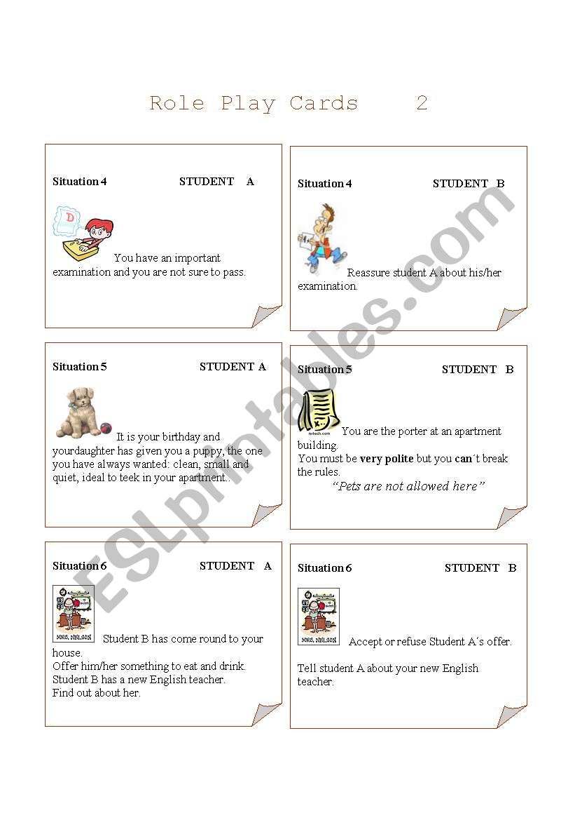 Role play cards  Set 2 worksheet