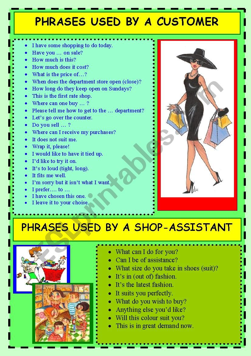 Phrases used by a CUSTOMER/SHOP-ASSISTANT