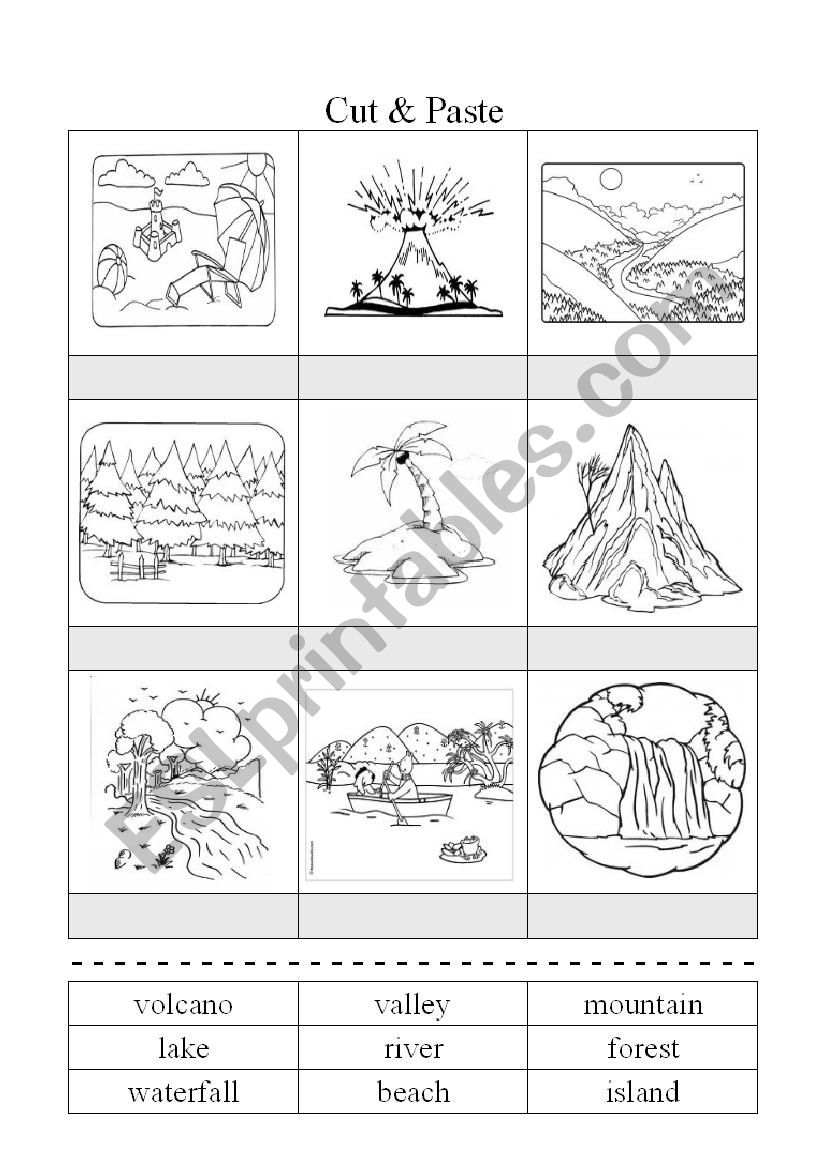 Nature - a cut&paste worksheet for your learners