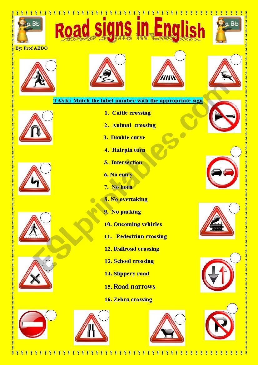 Road signs worksheet