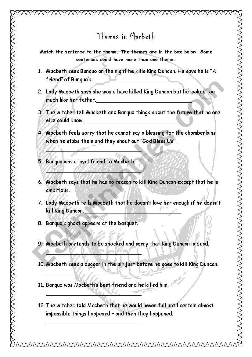 Themes in Macbeth - ESL worksheet by kimiom