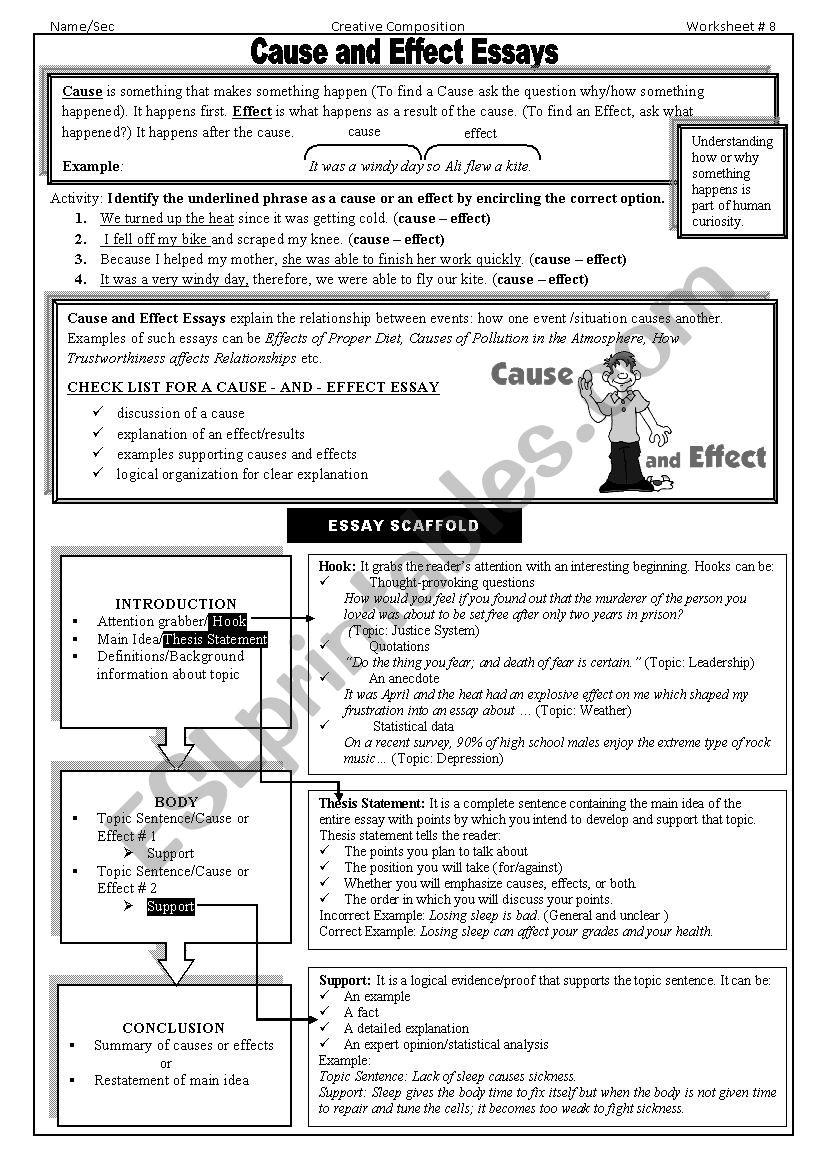 cause & effect essay worksheet