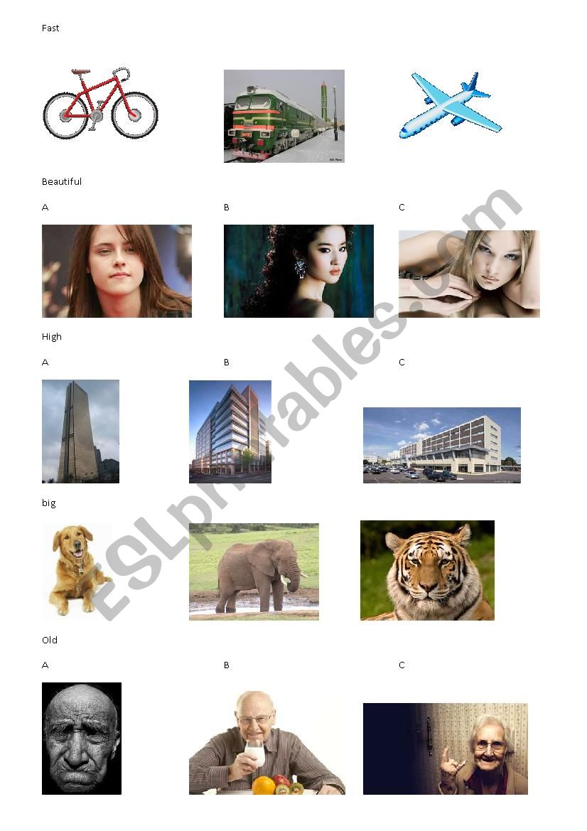 compare the pictures worksheet