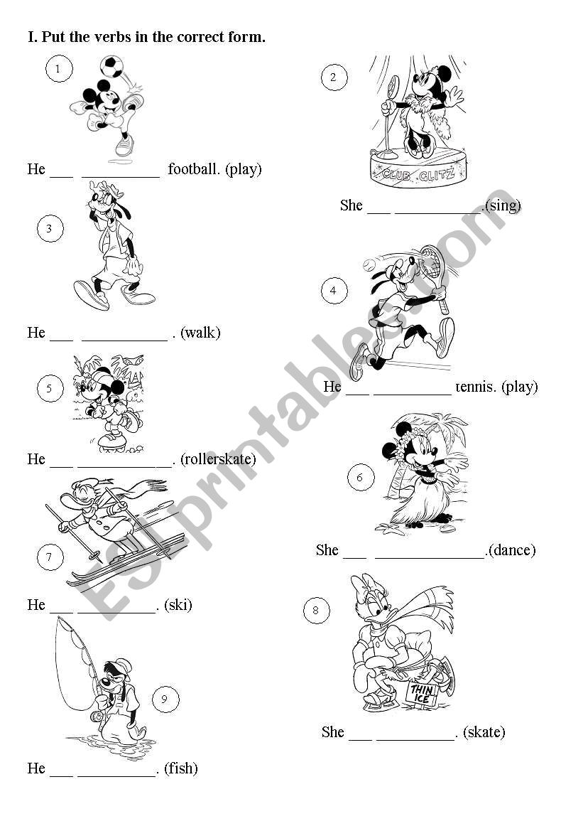 Present Continuous with Disney characters - part 1
