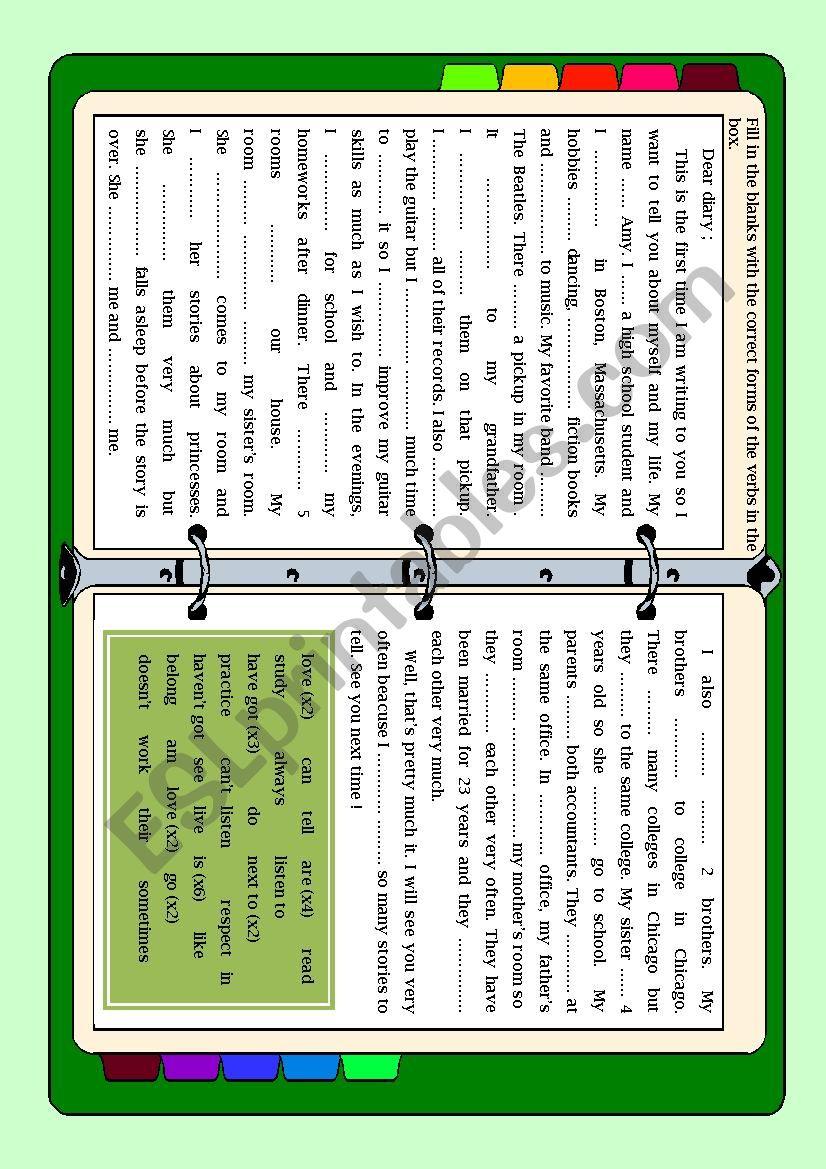 Dear Diary (elementary) worksheet