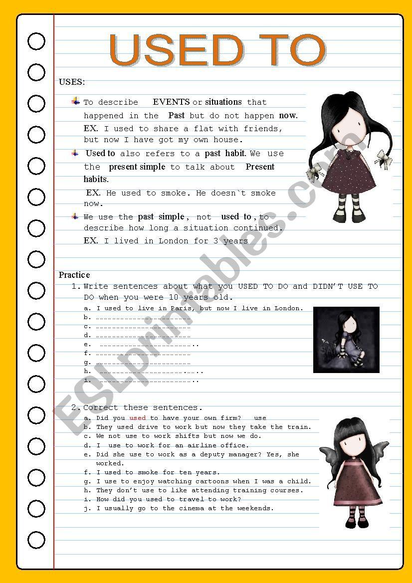 USED TO worksheet