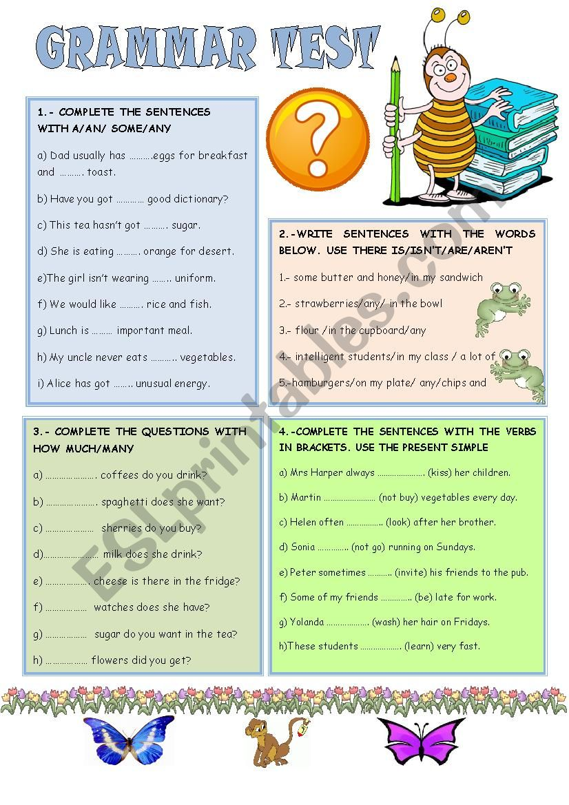 GRAMMAR TEST FOR BEGINNERS worksheet