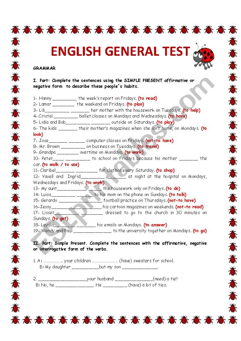 ENGLISH GENERAL TEST worksheet