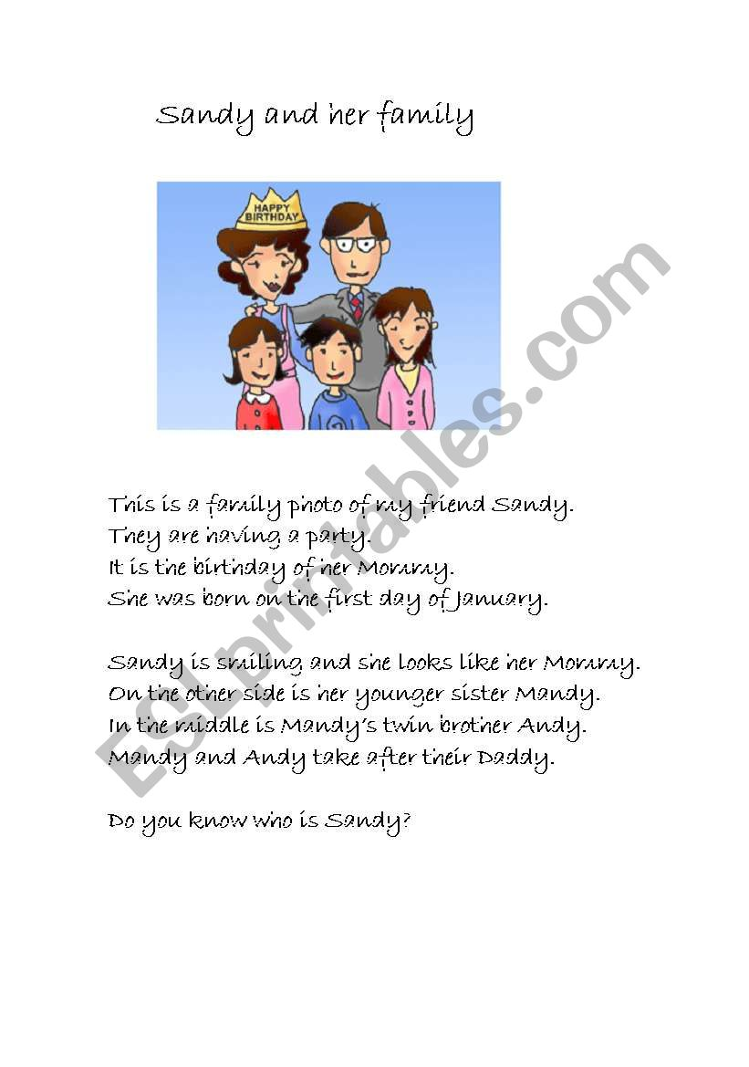 Sandy and her family worksheet