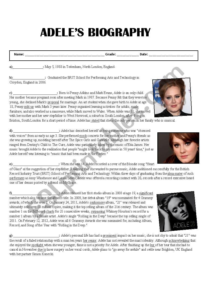 Adele´s Biography worksheet