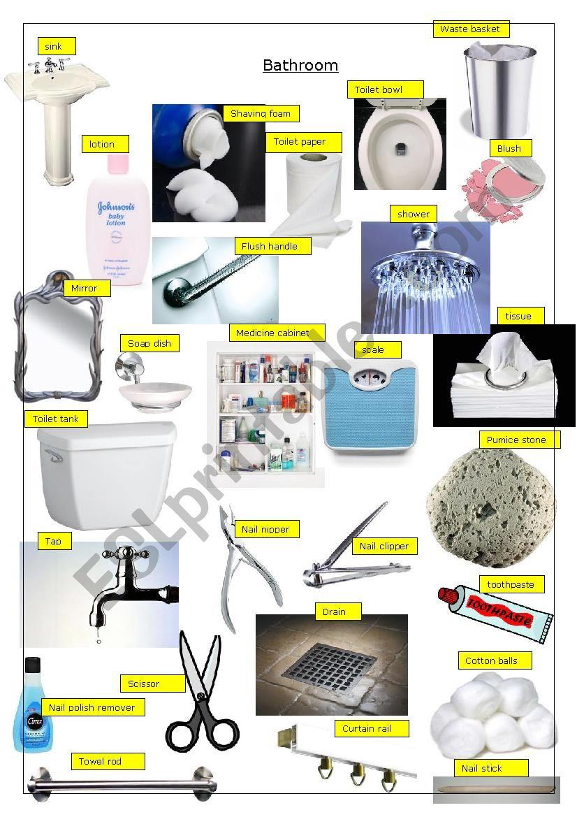 Bathroom Pictionary worksheet