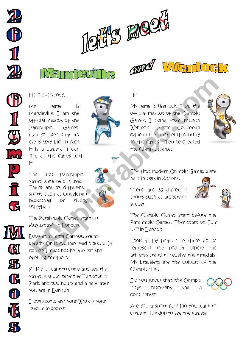 the Olympic Mascots worksheet
