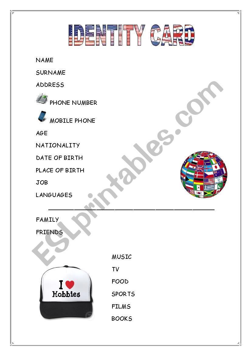 identity card worksheet