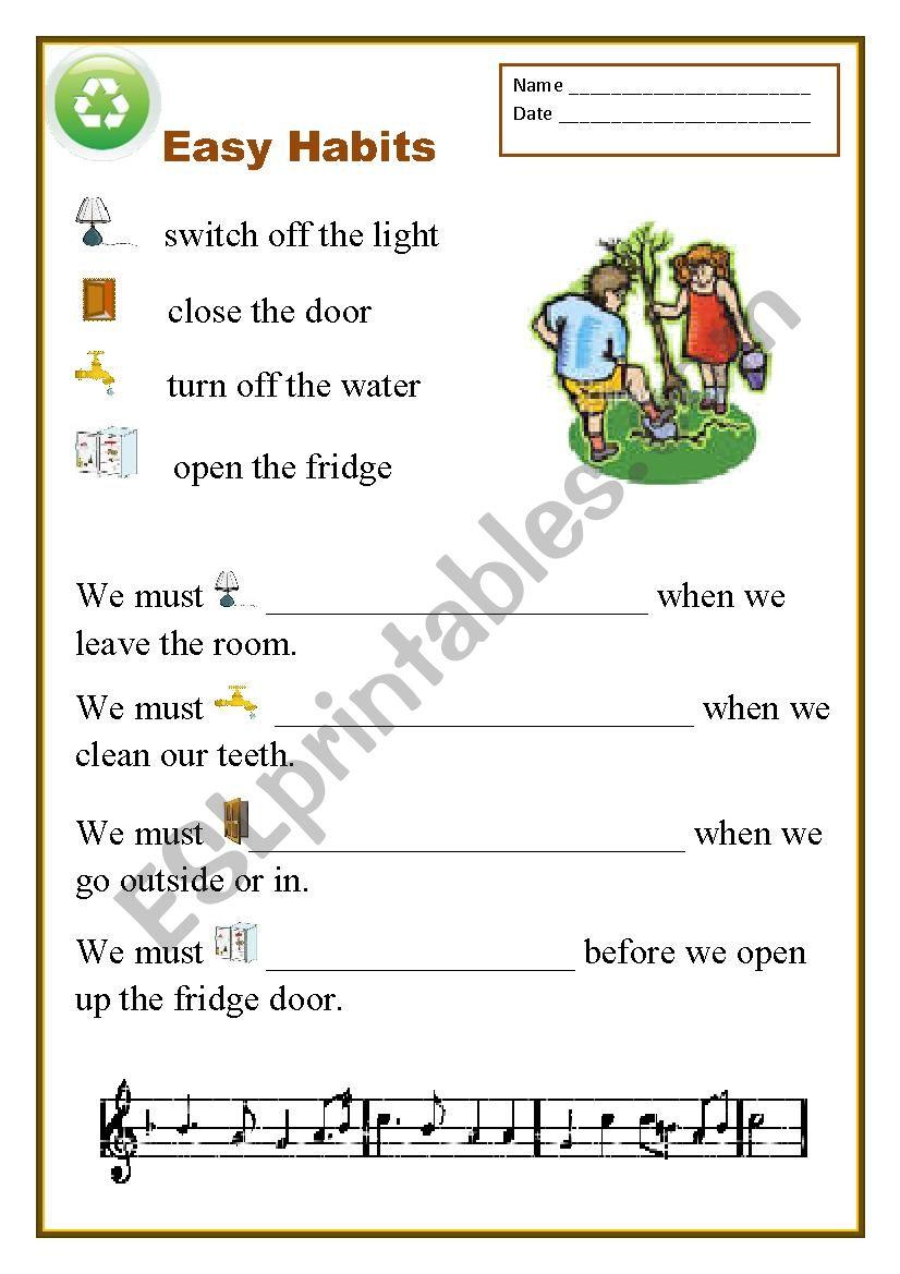 Easy Habits worksheet