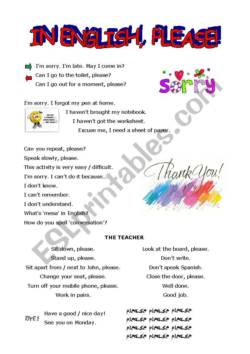 In English, please! worksheet