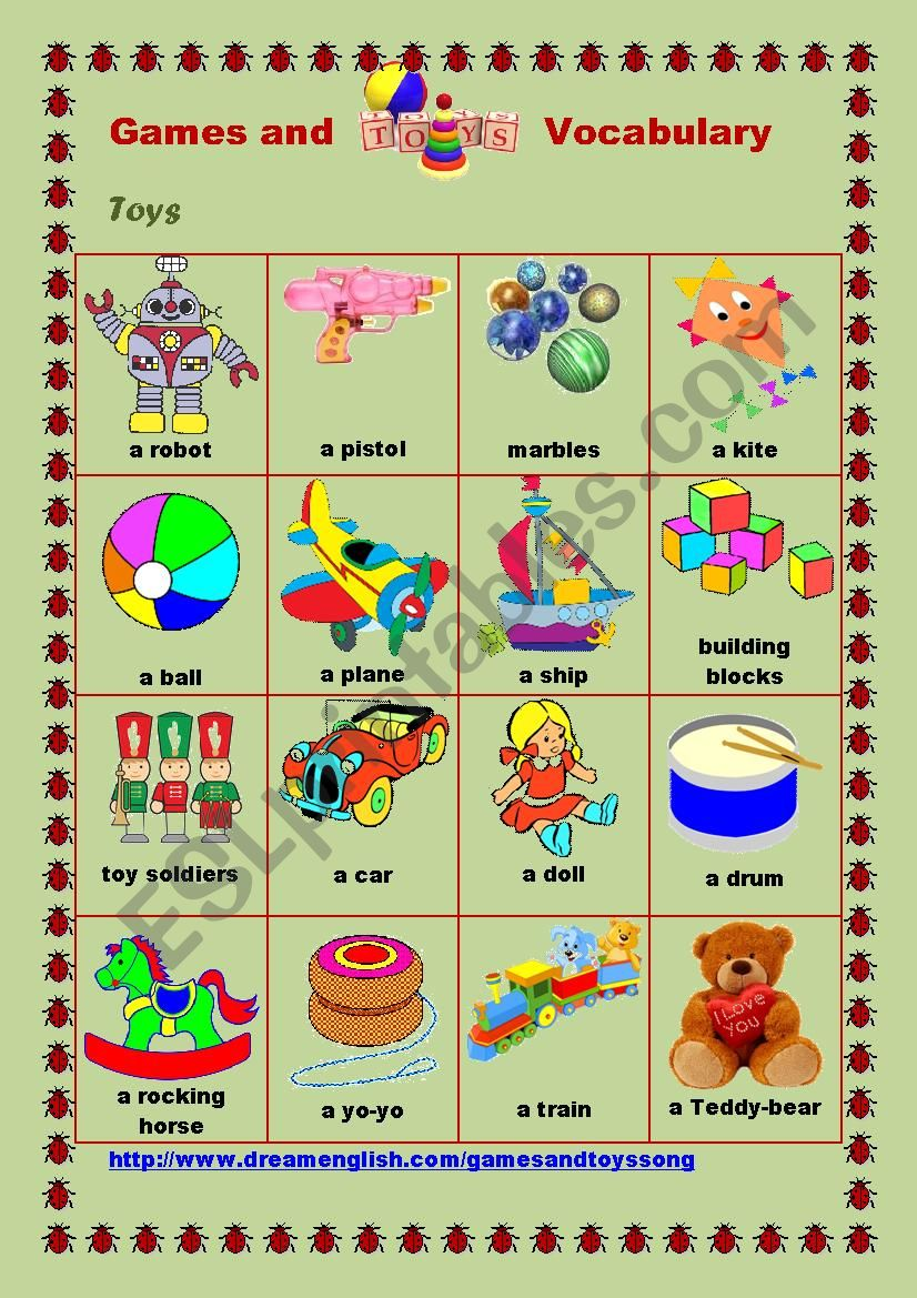 Games and Toys Vocabulary #2 worksheet