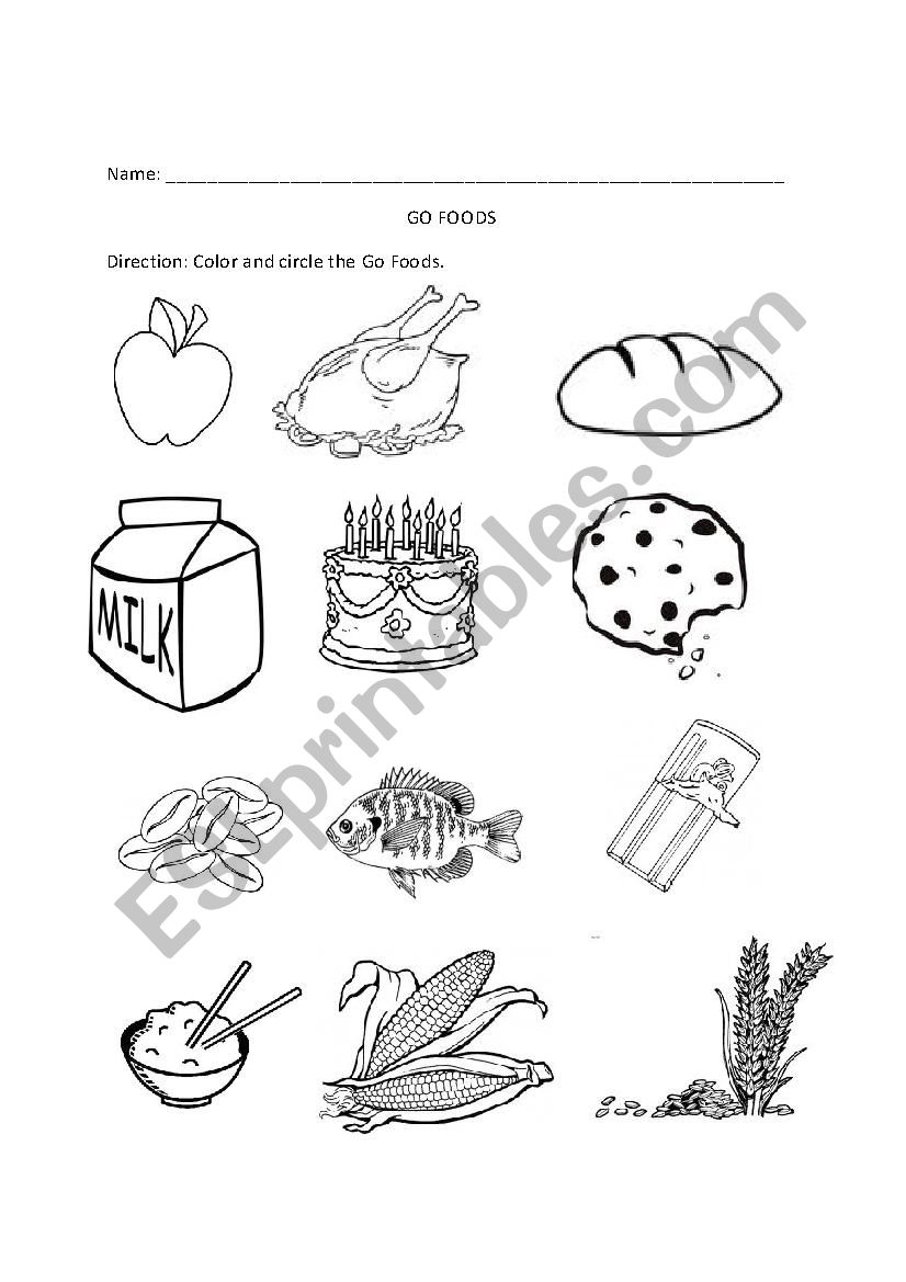 English Worksheets Go Grow Glow Foods