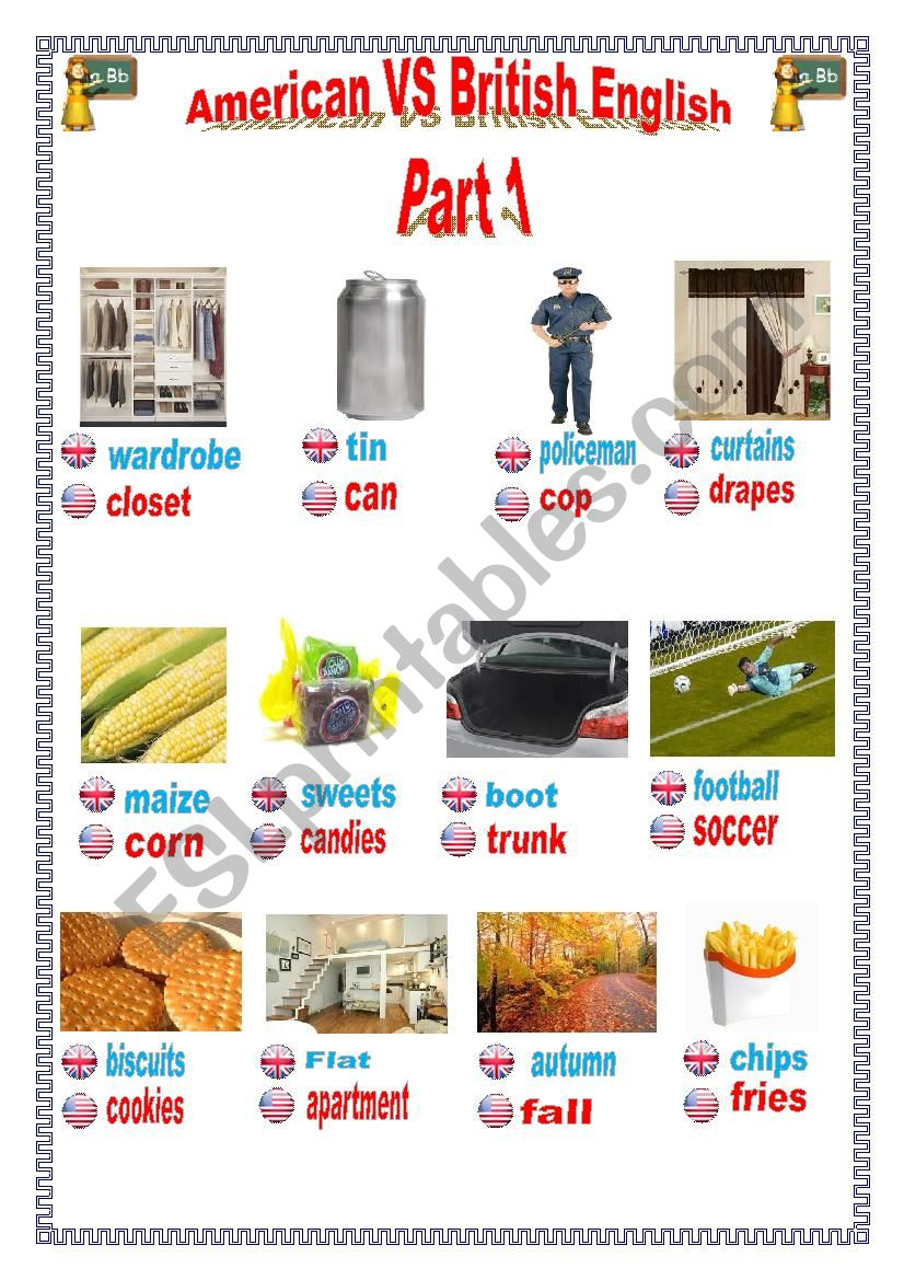 American VS British English worksheet