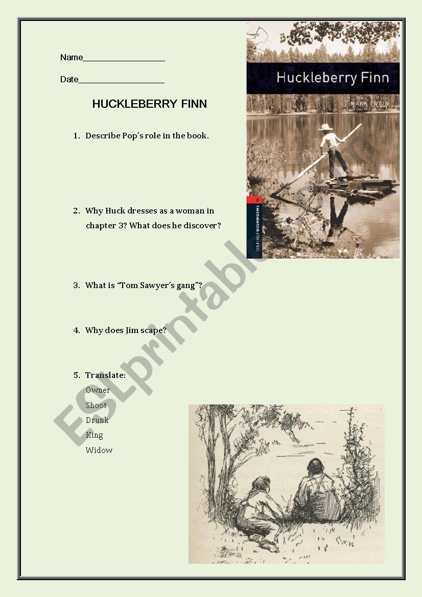 Huckleberry Finn (Oxford Bookworms) exam or worksheet