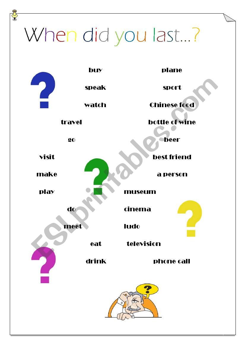 When did you last...? worksheet