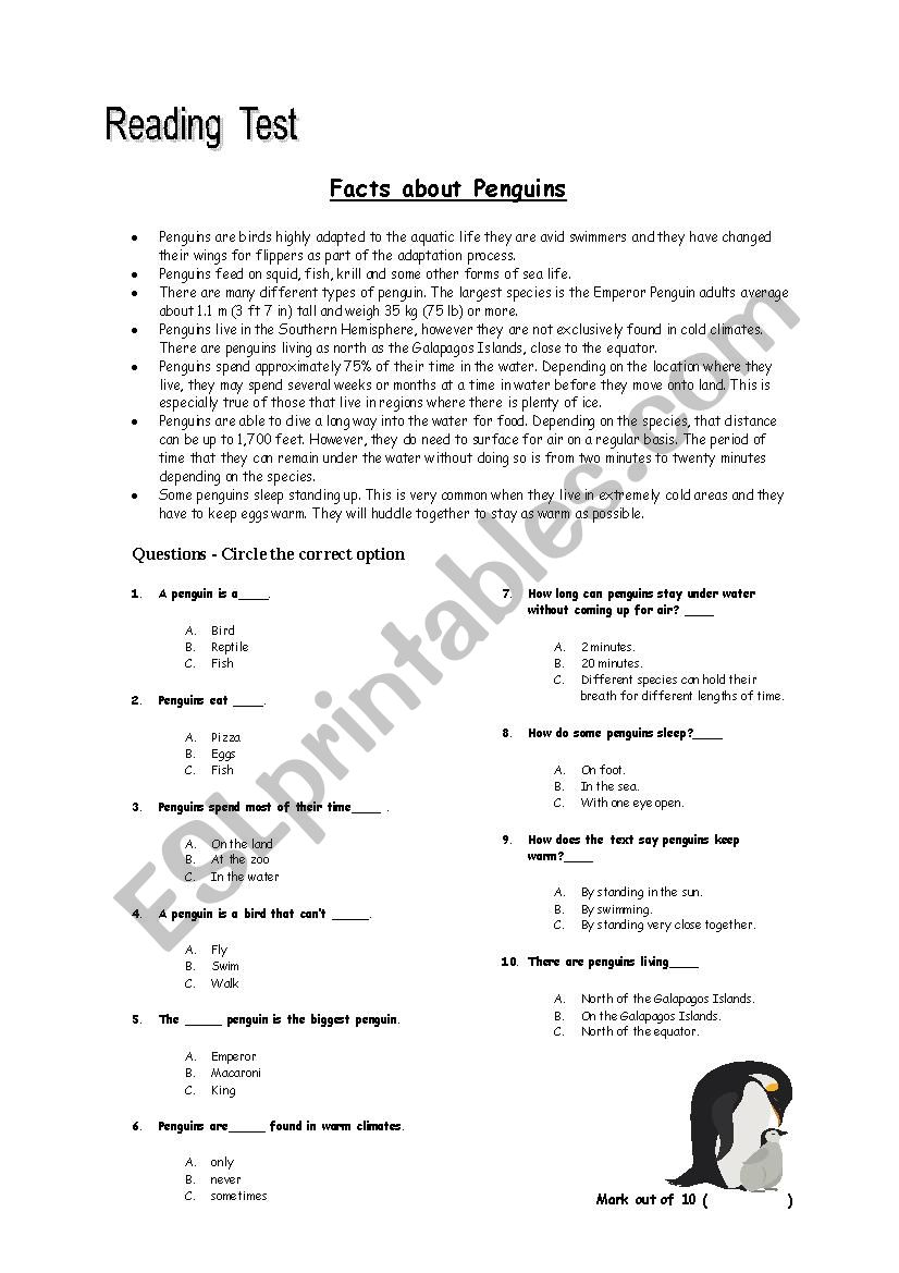 Reading Comprehension Test. Facts about Penguins