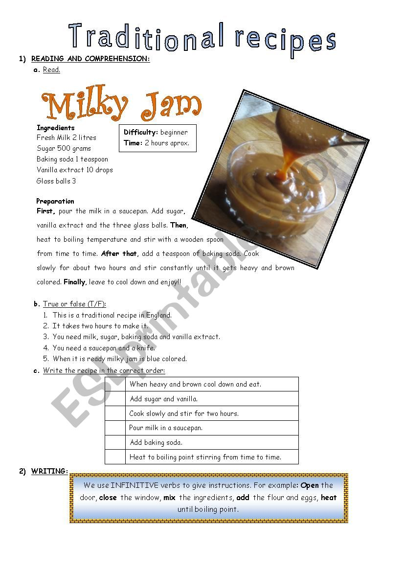 Traditional Recipes worksheet