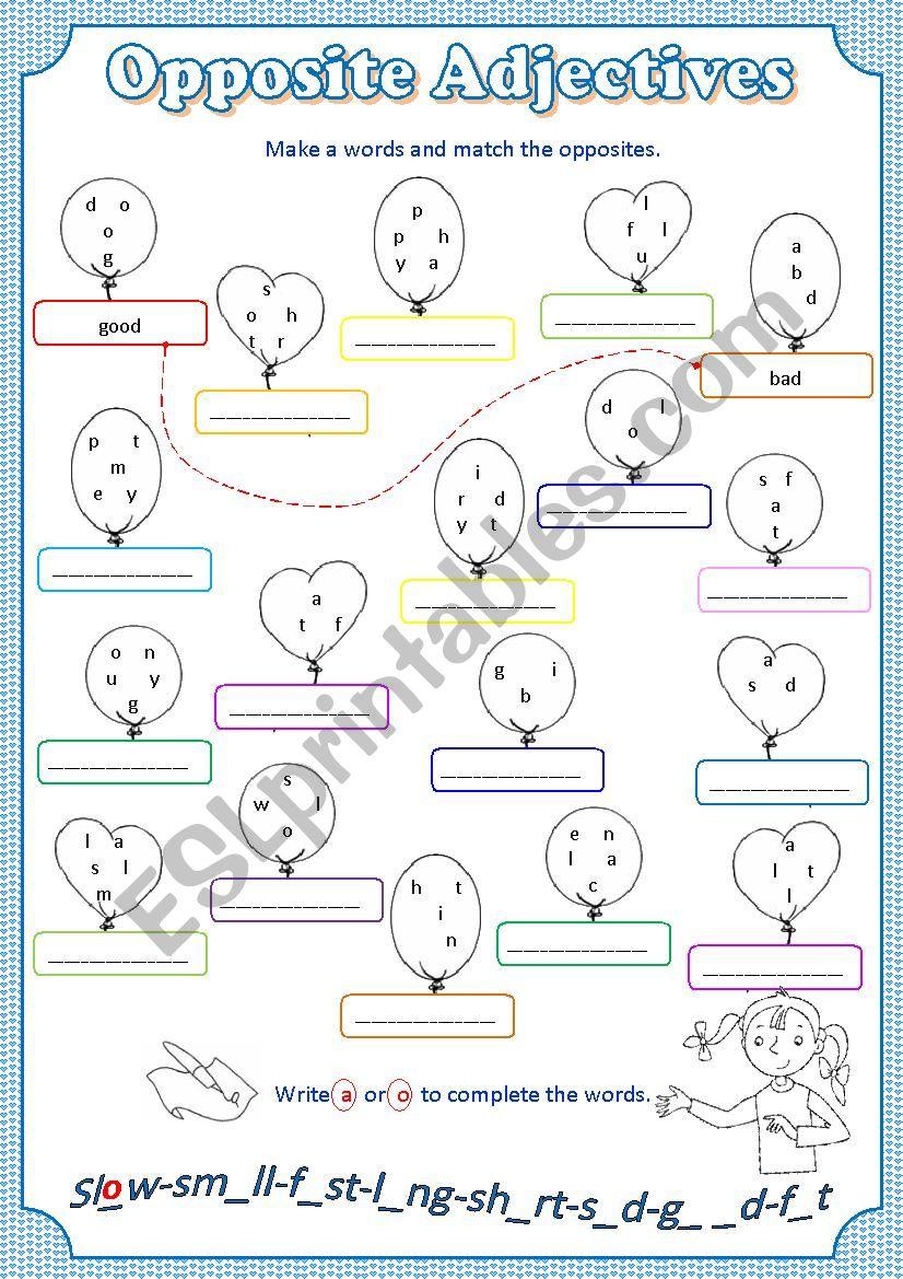 Match Opposite Adjectives worksheet