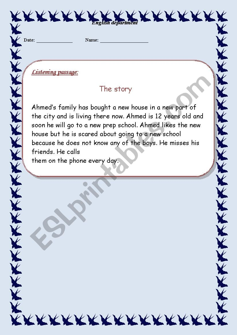 - Listening Passage With Questions - ESL Worksheet By Emy H