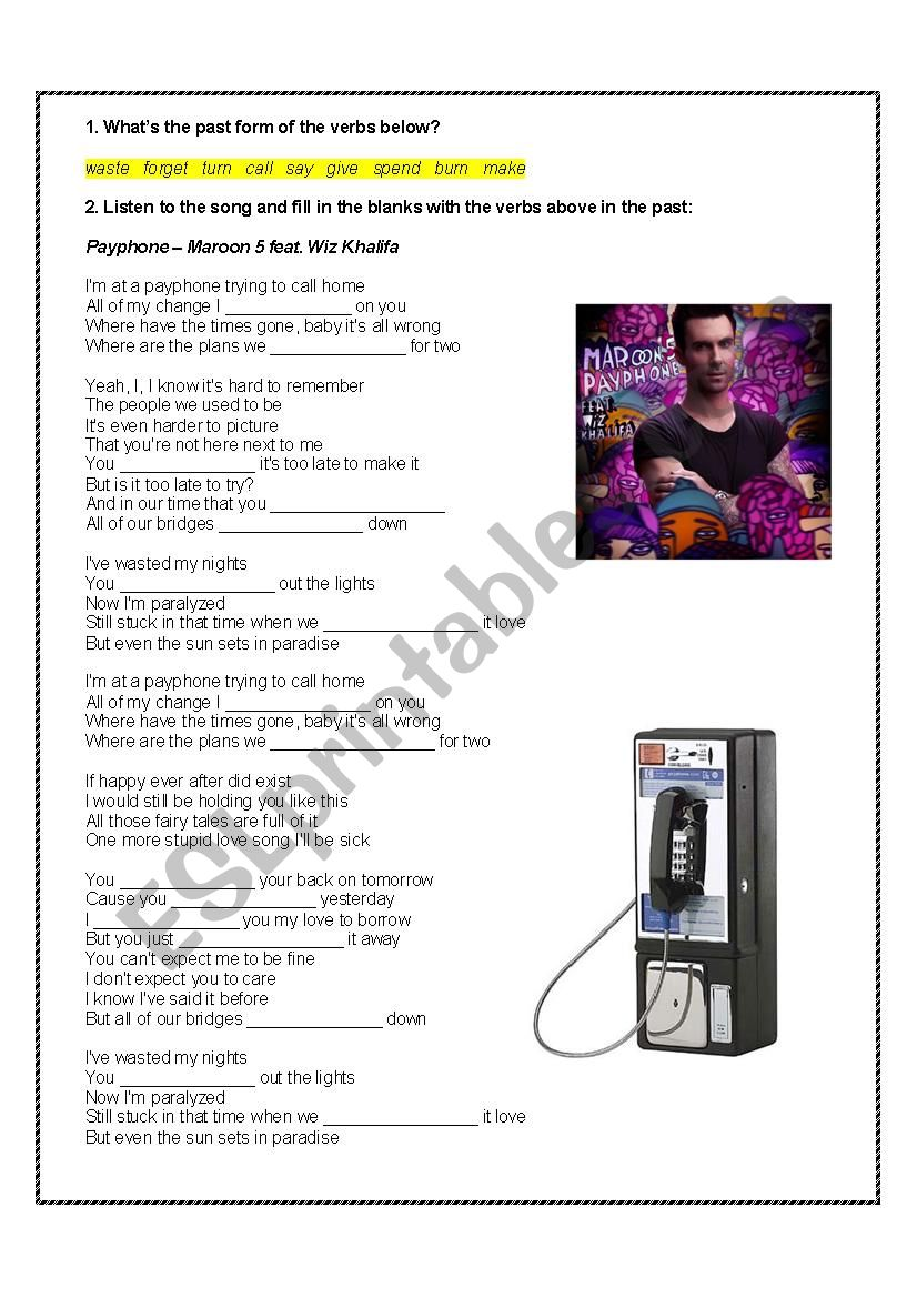 Song activity: Payphone - Maroon 5