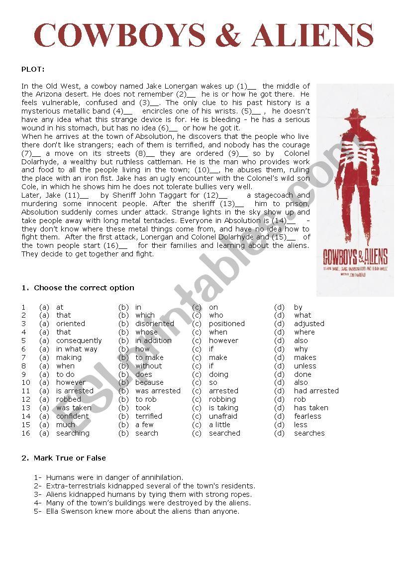 Cowboys and Aliens worksheet