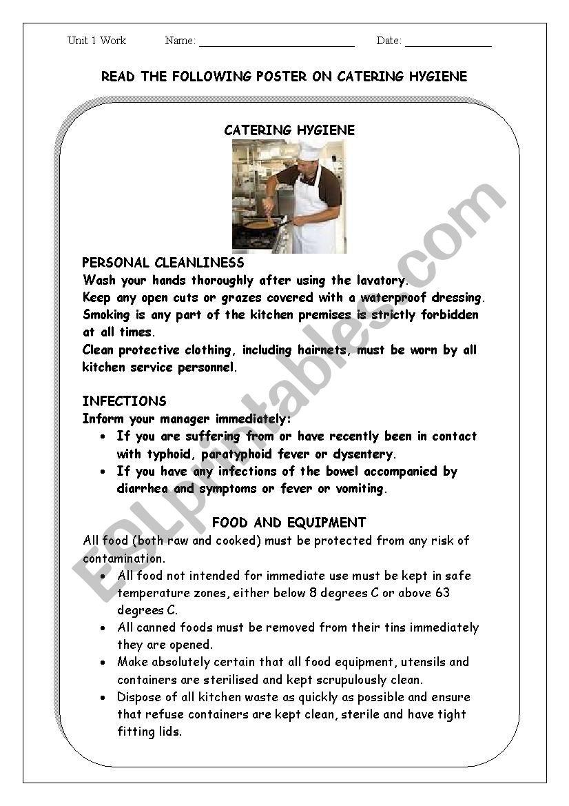 CATERING HYGIENE worksheet