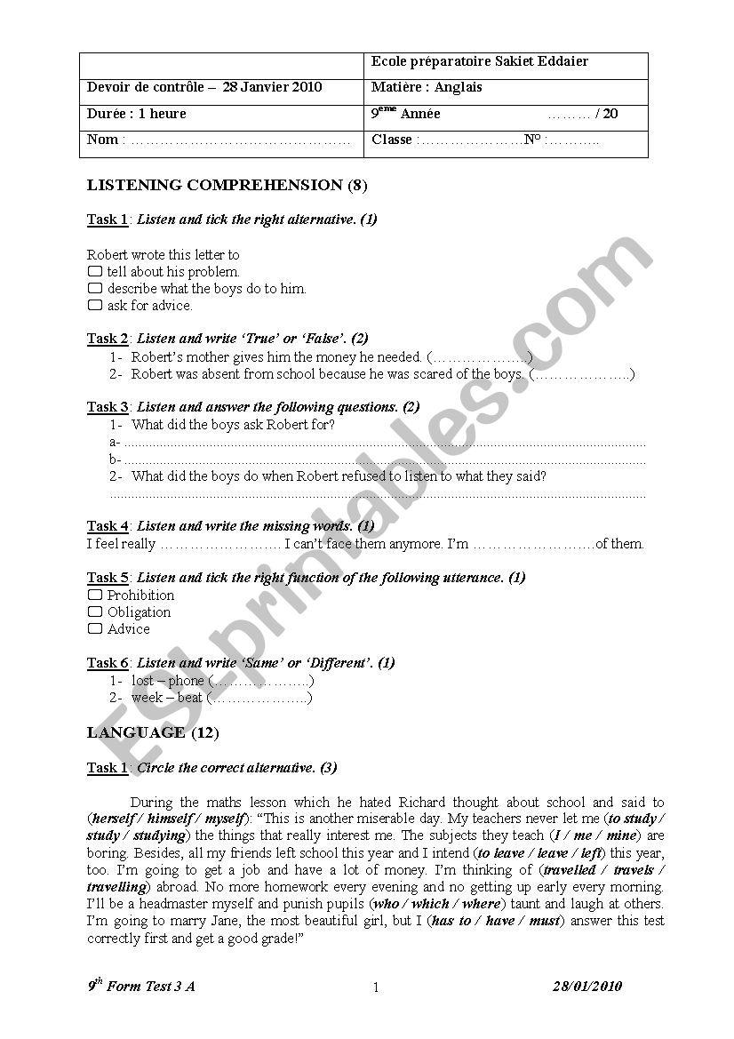 9 test 3 worksheet