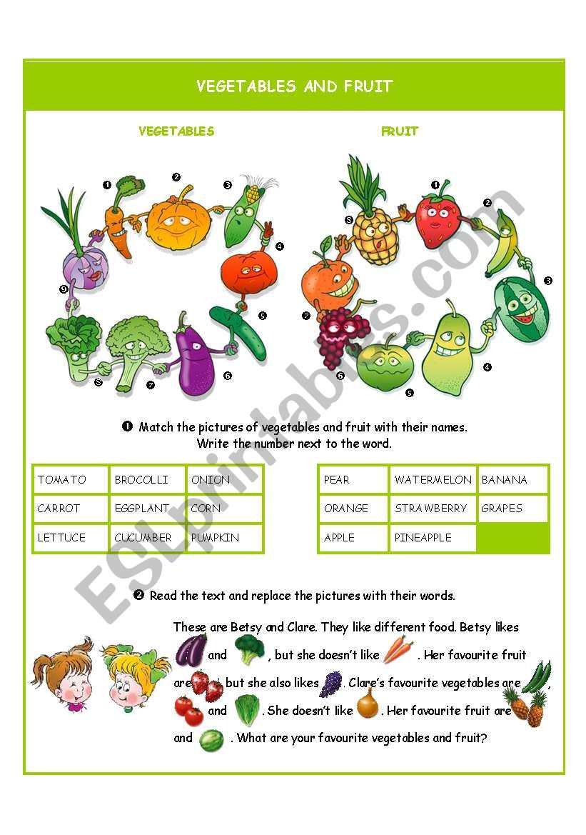Vegetables and fruit worksheet