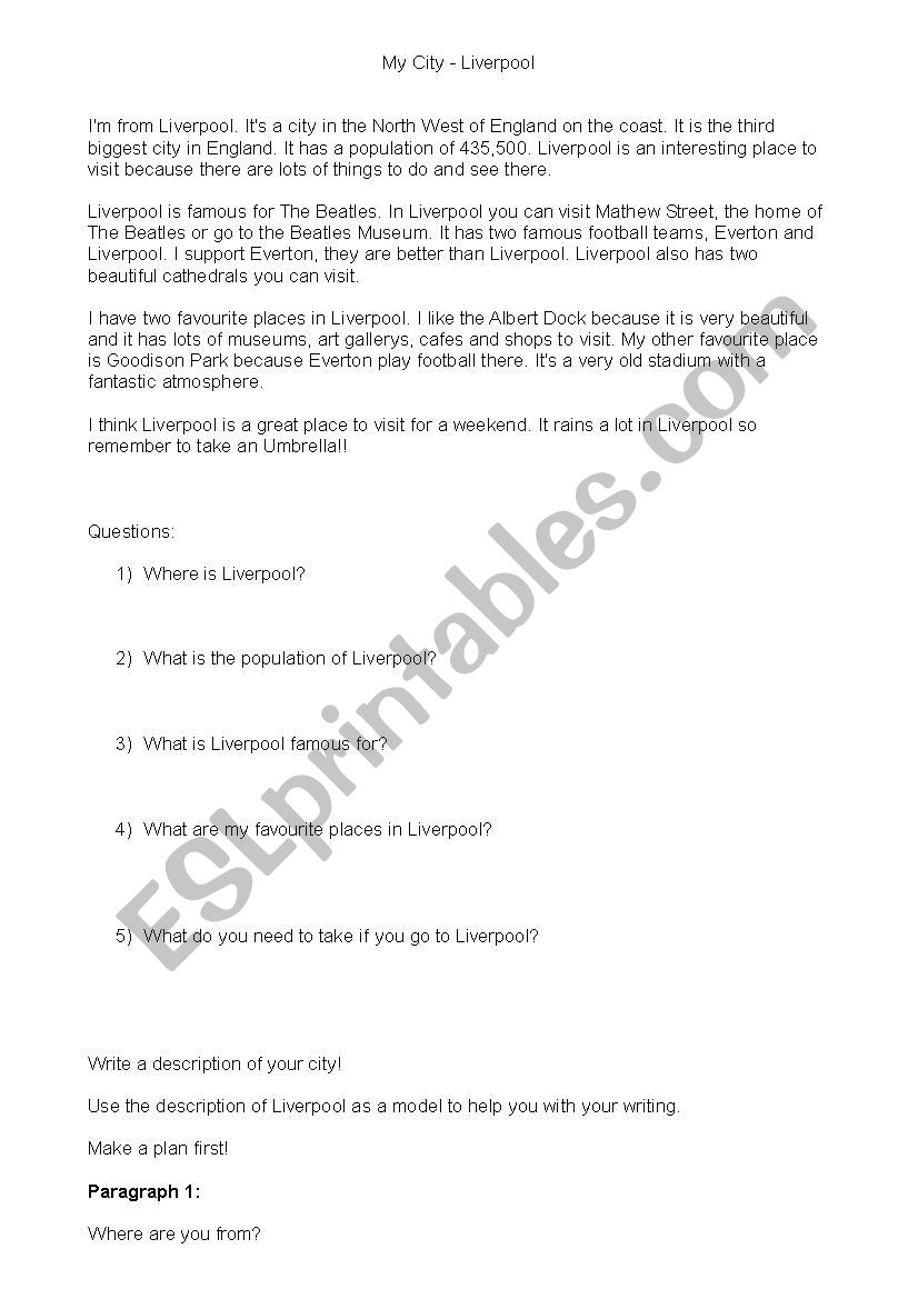 My City - Liverpool worksheet
