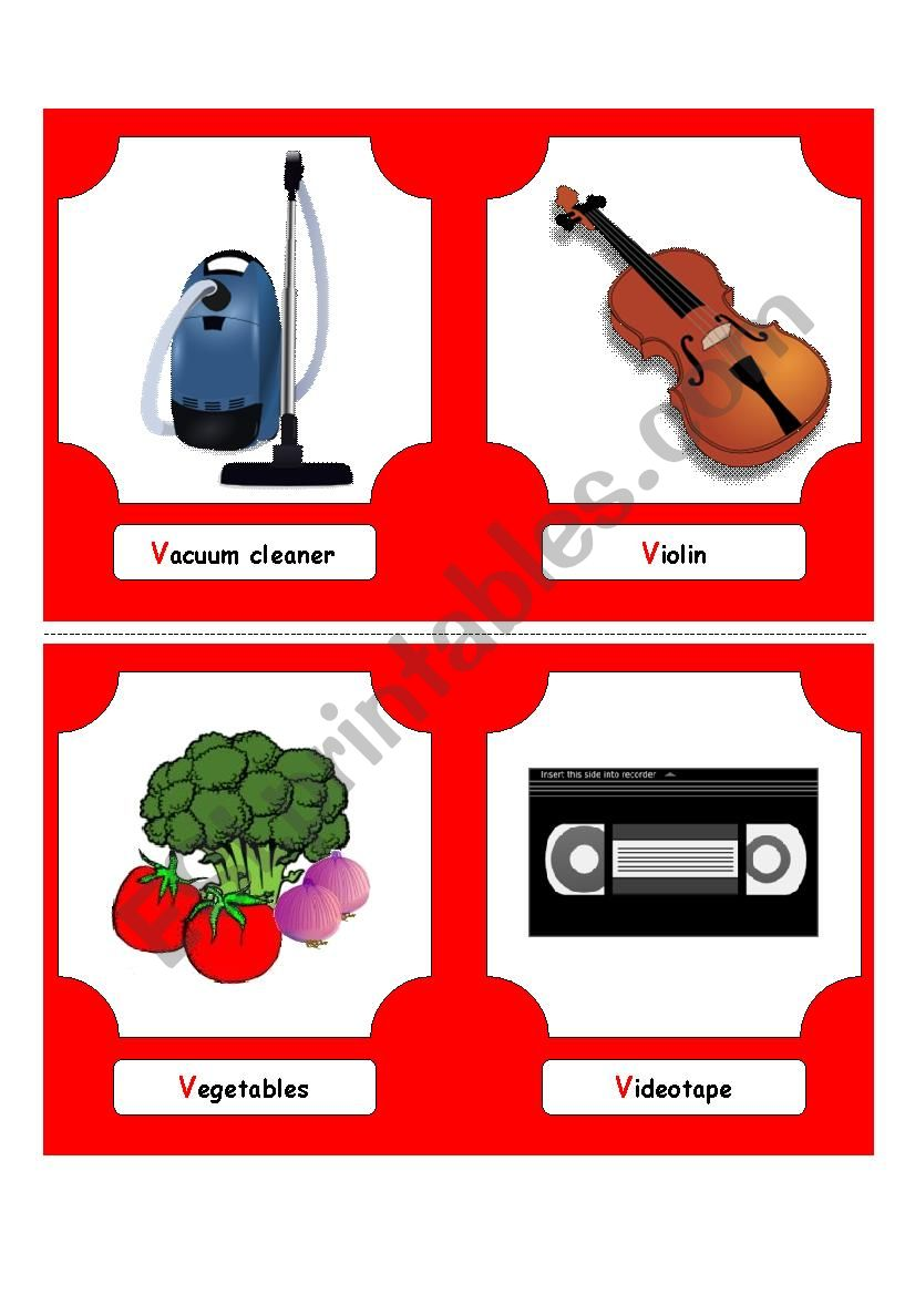 Alphabet Words - V  (flash cards)