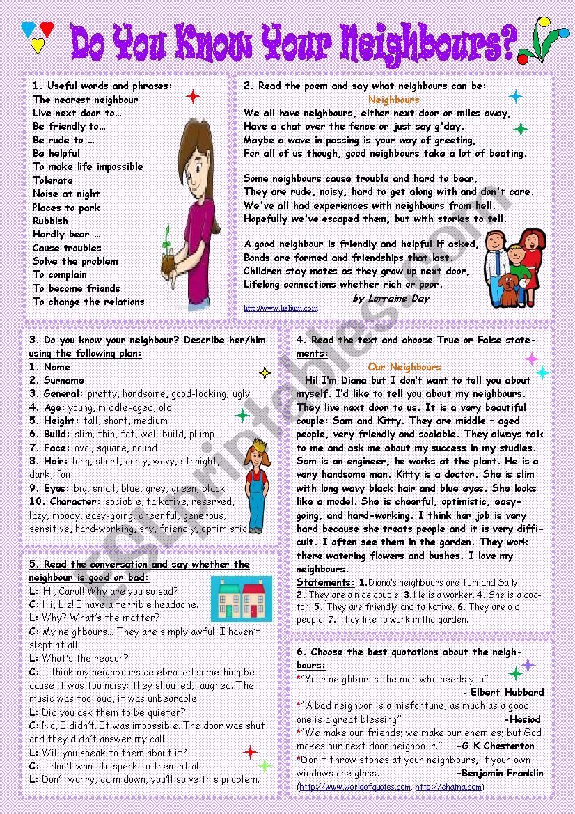 Do you know your neighbours? worksheet