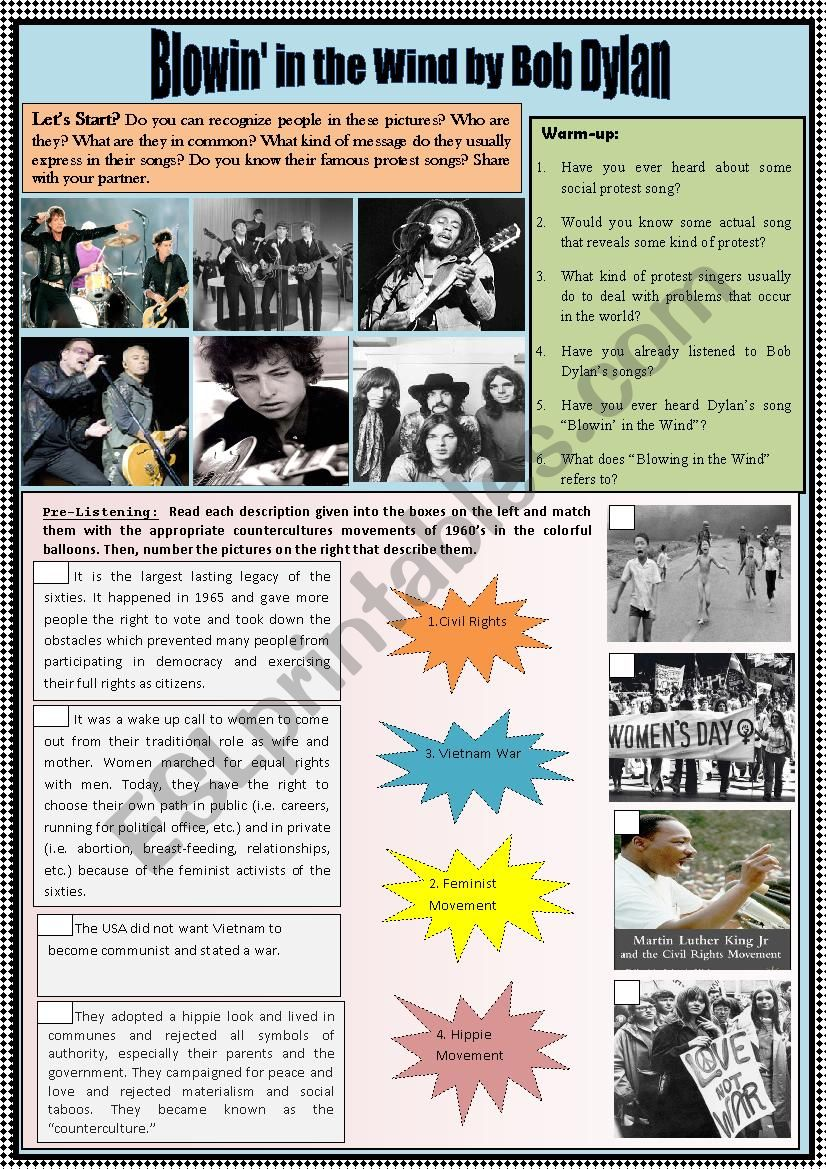 PROTEST SONGS & COUNTERCULTURE MOVEMENTS IN 1960´S. REVIEW GRAMMAR ON QUANTIFIER ´MANY´.  4 LANGUAGE SKILLS INTEGRATED.