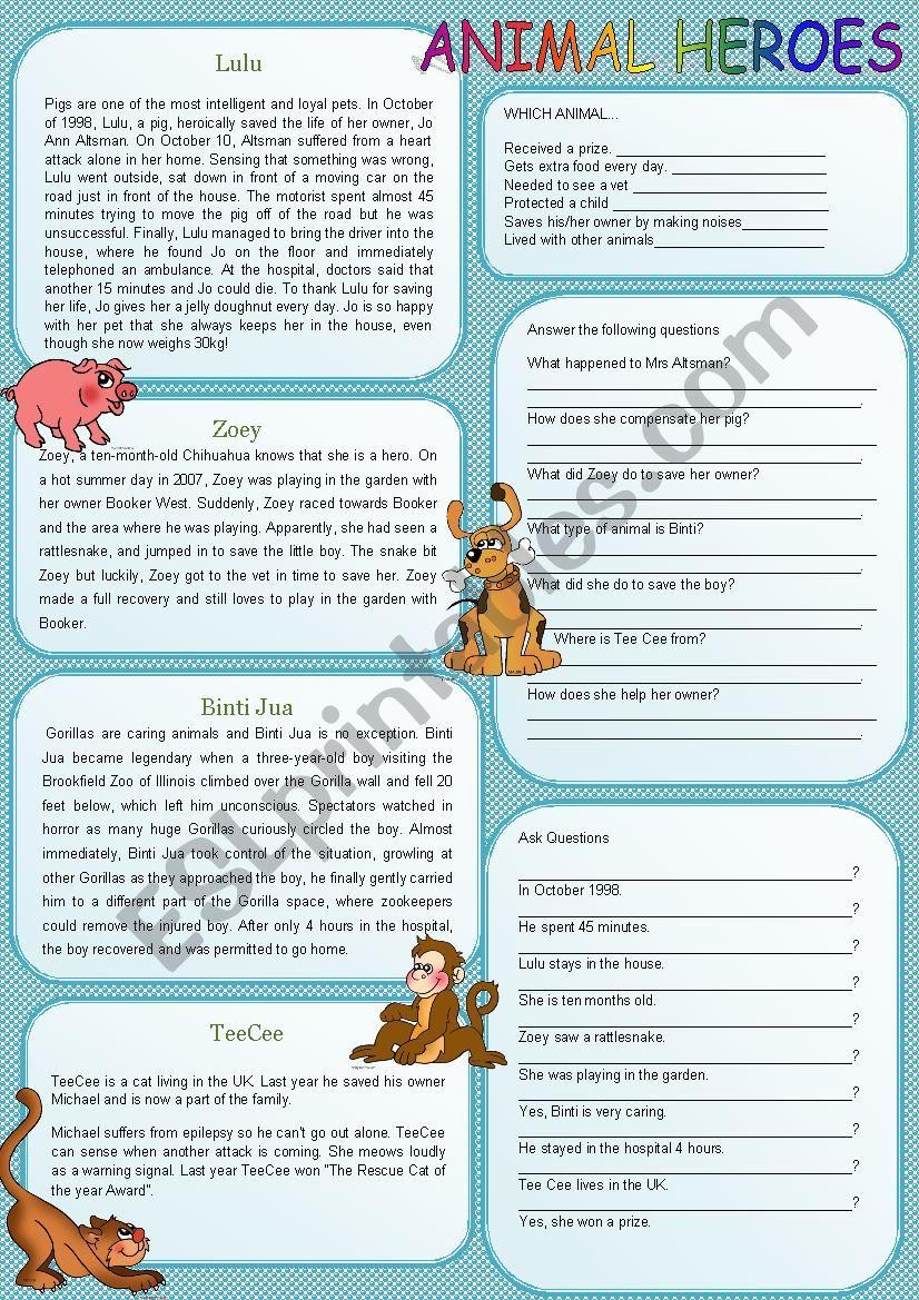 Animal Heroes worksheet