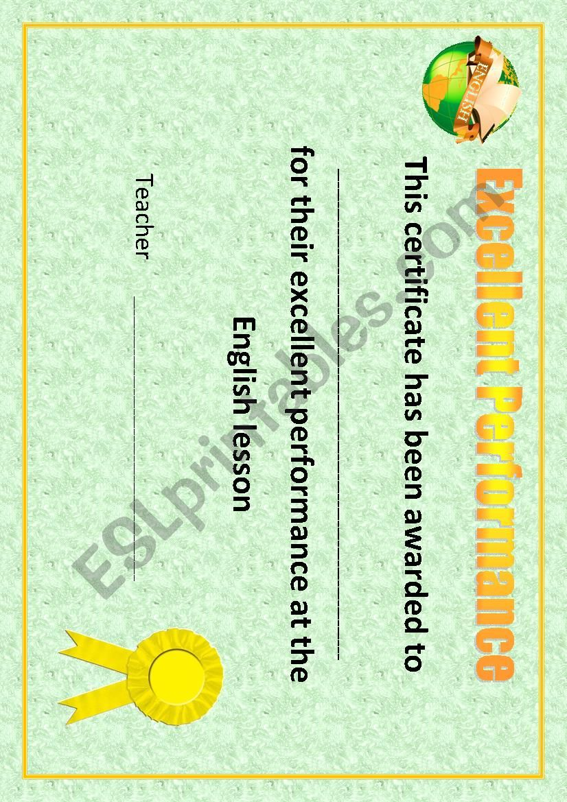 Certificate/Excellent Performance