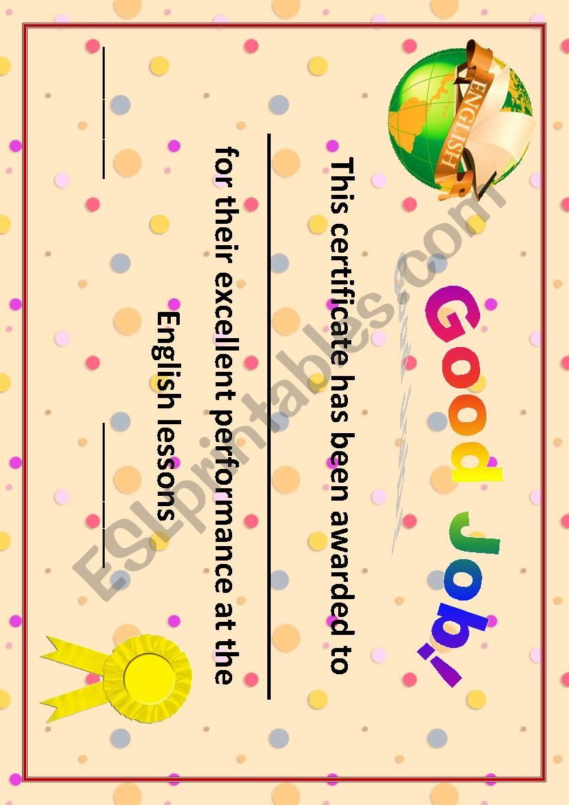 Certificate/Good Job worksheet