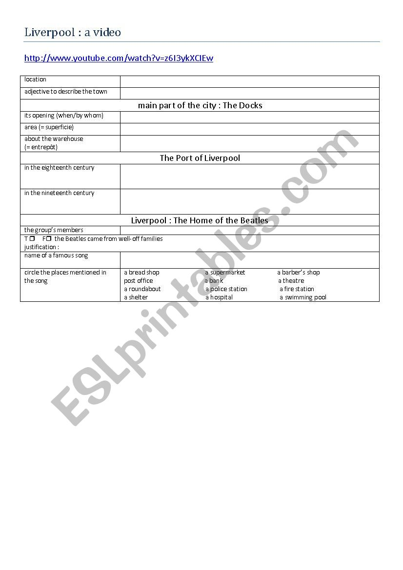The city of Liverpool worksheet