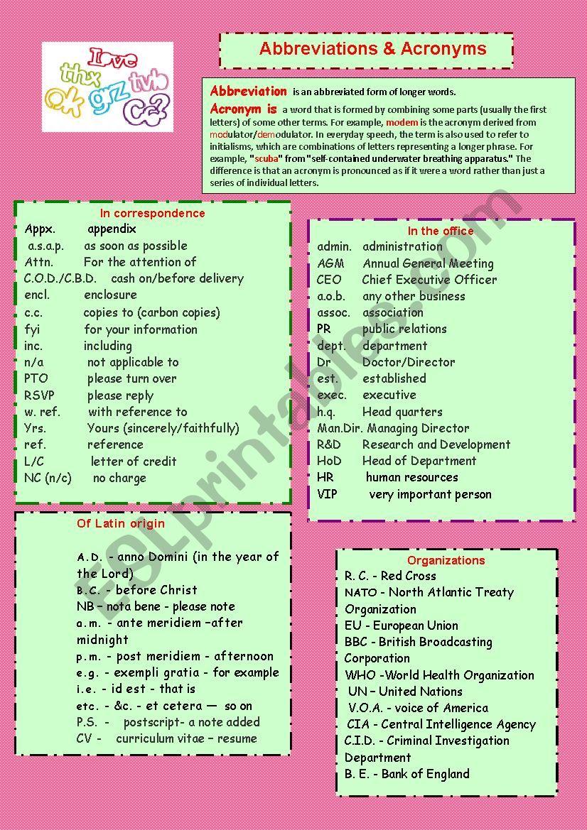 Abbreviations & Acronyms - ESL worksheet by zinaida954