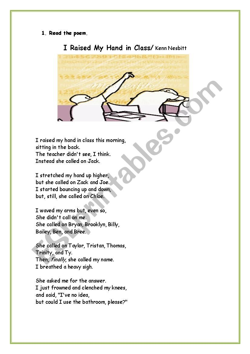 Poem I Raised My Hand In Class 2 Pages Esl Worksheet By
