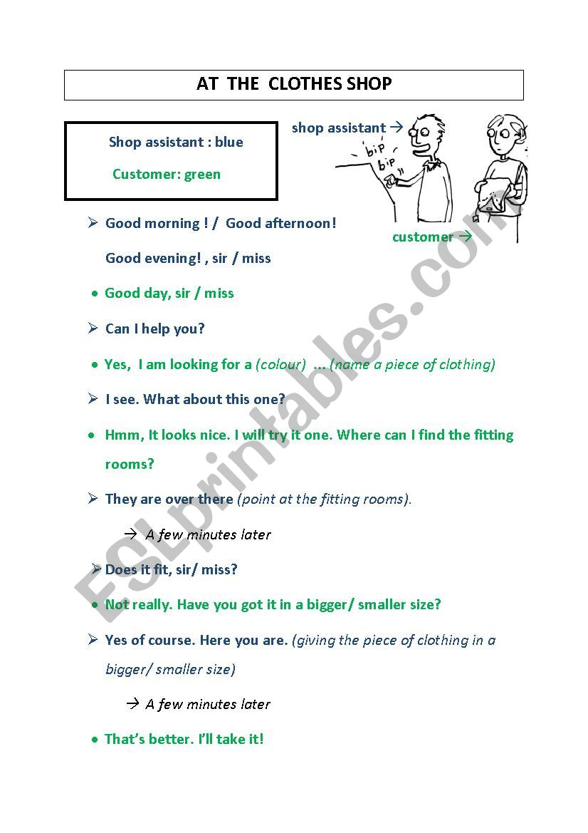 clothes shopping (dialogue) worksheet